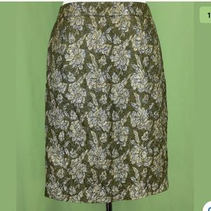 New J.Crew skirt green metallic gold flowers Sz 2